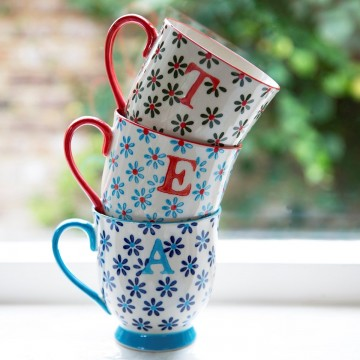 Alphabet Bohemian Mug Letter E