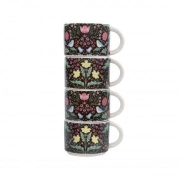 Floral stalking espresso mugs