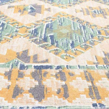 Cotton Carpet in yellow/ green