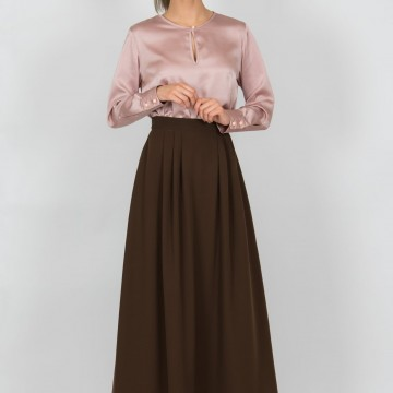 Chaton clothing Florence long skirt (brown)