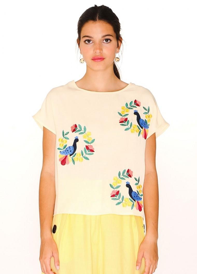 Pepaloves Bird embroidered top