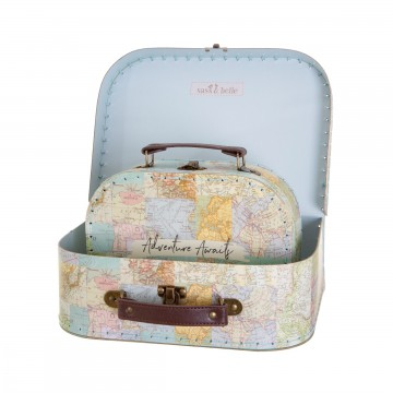 VINTAGE MAP COLLAGE SUITCASES - SET OF 2