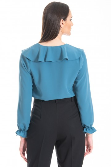 Chaton clothing Adele shirt with flills (light petrol)