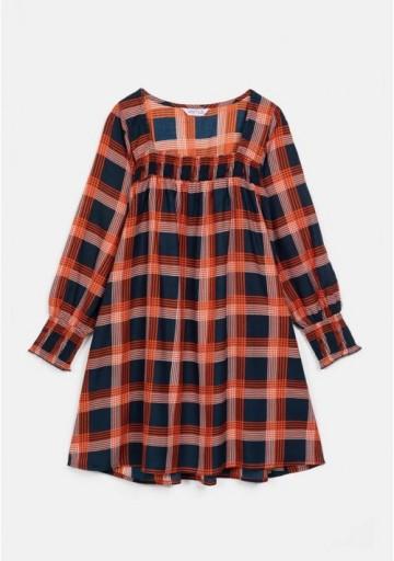 Compania Fantastica check flannel tube smocked dress