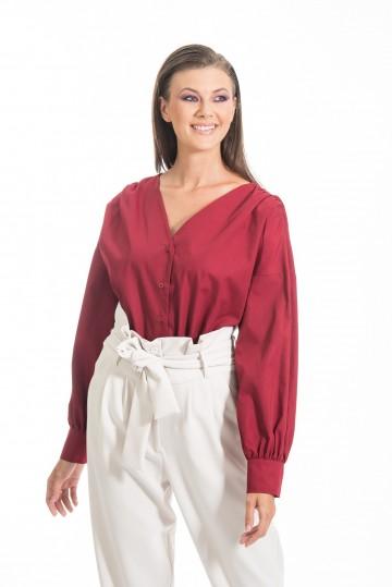 Chaton clothing Poplin V-neck shirt (wine)