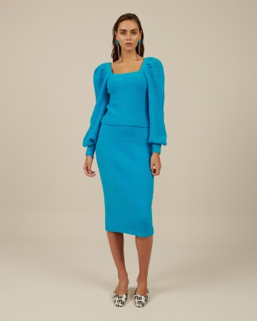 Milkwhite knit pencil skirt (blue)