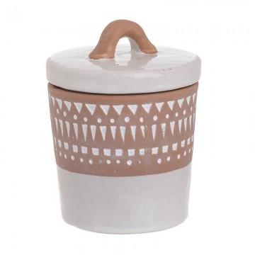 CERAMIC JAR WITH LID WHITE/BROWN