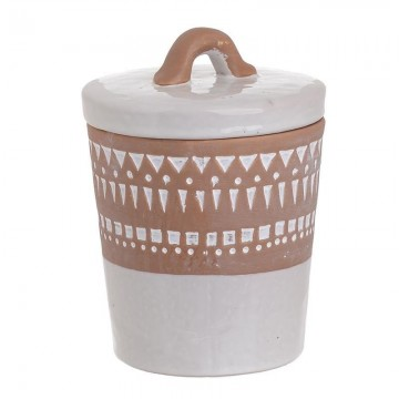 CERAMIC JAR WITH LID WHITE/BROWN (SMALL)