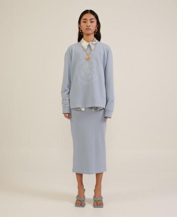 Milkwhite sweatshirt skirt (baby blue)