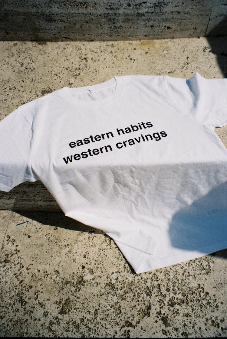 Eastern habits, western cravings t-shirt (white)