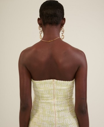Milkwhite logo tweed dress (yellow)