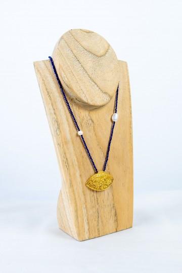 Nefeli Karyofilli Golden eye necklace (deep blue chain)