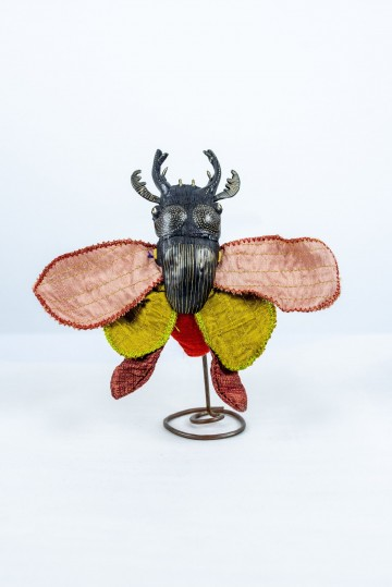 Nefeli Karyofilli Insect brooch (olive green and brown)