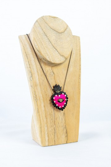 Nefeli Karyofilli Pink heart necklace (and some pearls)