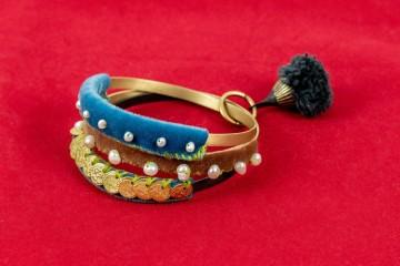 Nefeli Karyofilli Triple bracelet (in blues and brown)