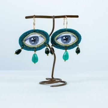 Nefeli Karyofilli Green eye earrings