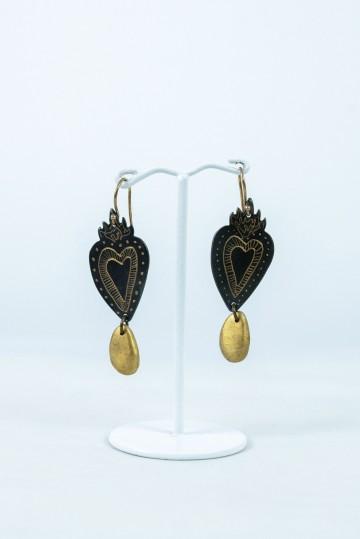 Nefeli Karyofilli Golden tears heart earrings