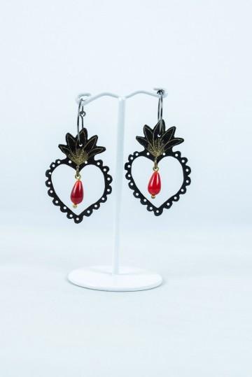 Nefeli Karyofilli Red drops heart earrings